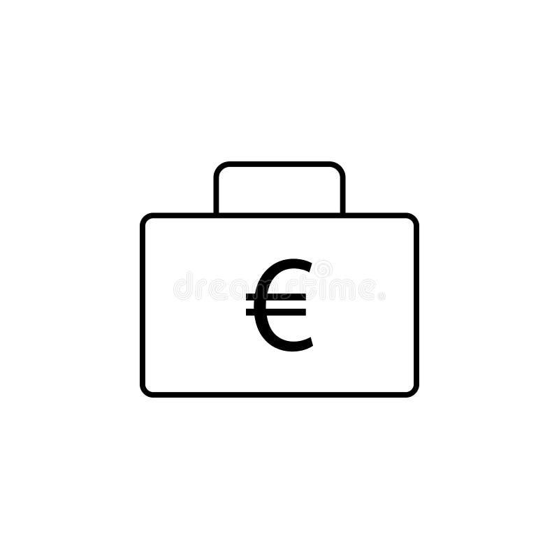 Bureauzak, euro pictogram Element van financiënillustratie Tekens en symbolen het pictogram kan voor Web, embleem, mobiele toepas stock illustratie