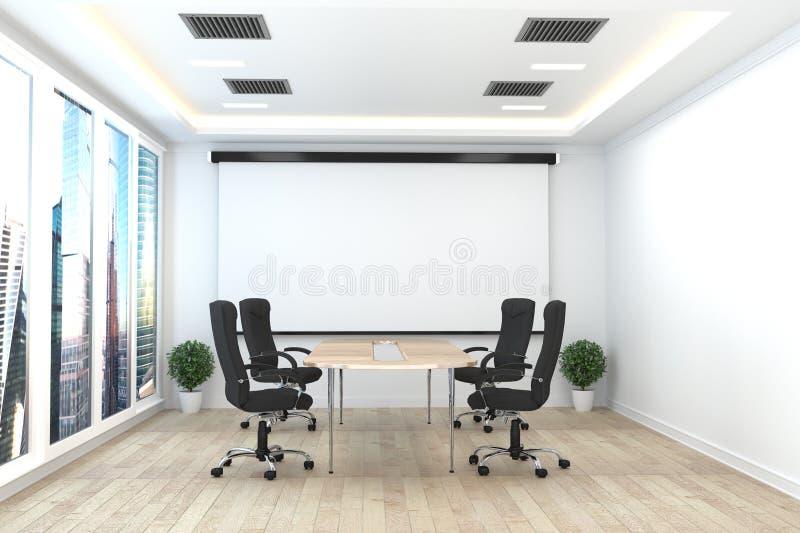 Bureauzaken - mooie bestuurskamervergaderzaal en conferentielijst, moderne stijl het 3d teruggeven vector illustratie