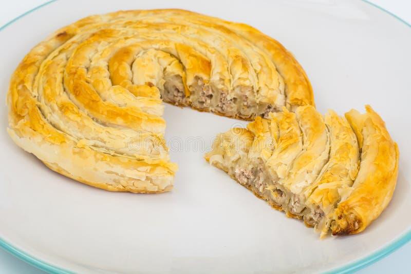 Burek with meat. Turkish baked goods. Studio Photo royalty free stock photography
