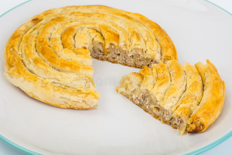 Burek mit Fleisch Türkische Backwaren lizenzfreie stockfotografie