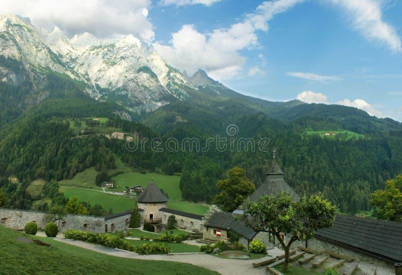Burg Hohenwerfen Castle. In Austrian alps stock photography