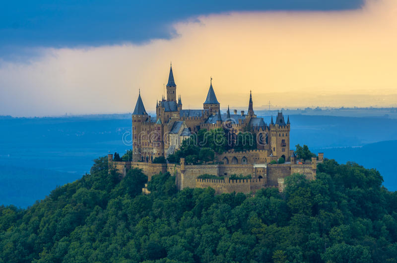 Burg Hohenzollern castle. Hohenzollern castle in Germany is looking like a fantasy prince and princess romantic castle. It's been taken from the Zellerhorn south stock photography
