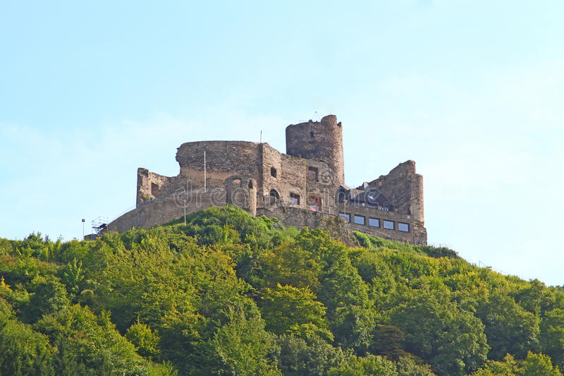 Burg Landshut at the River Mosel in Germany. The famous castle of Burg Landshut in the peaceful city Bernkastel-Kues at the Mosel River, Mosel Valley, Rhineland stock images