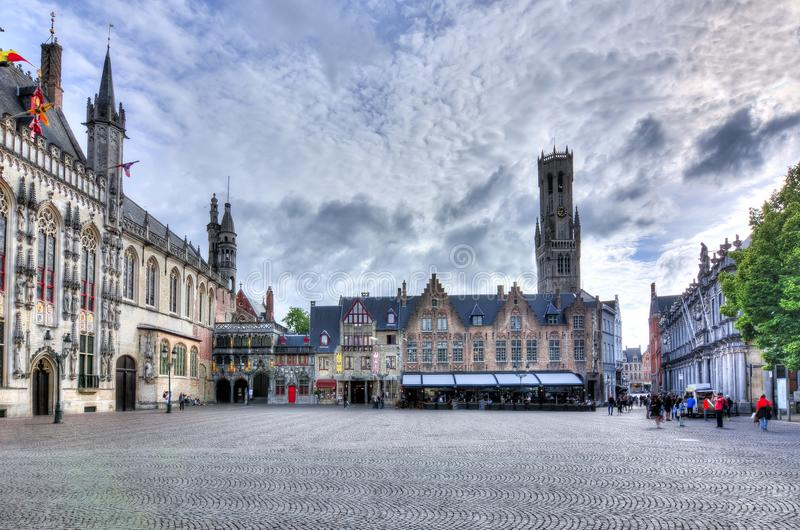 Burg square and Belfort tower, Bruges, Belgium stock photos