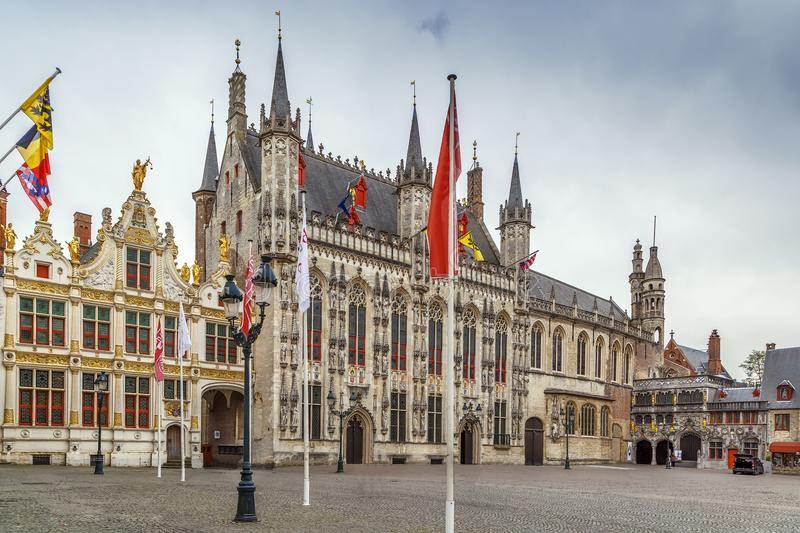 Burg square in Bruges, Belgium. Burg square with town hall in historic center of Bruges, Belgium stock images