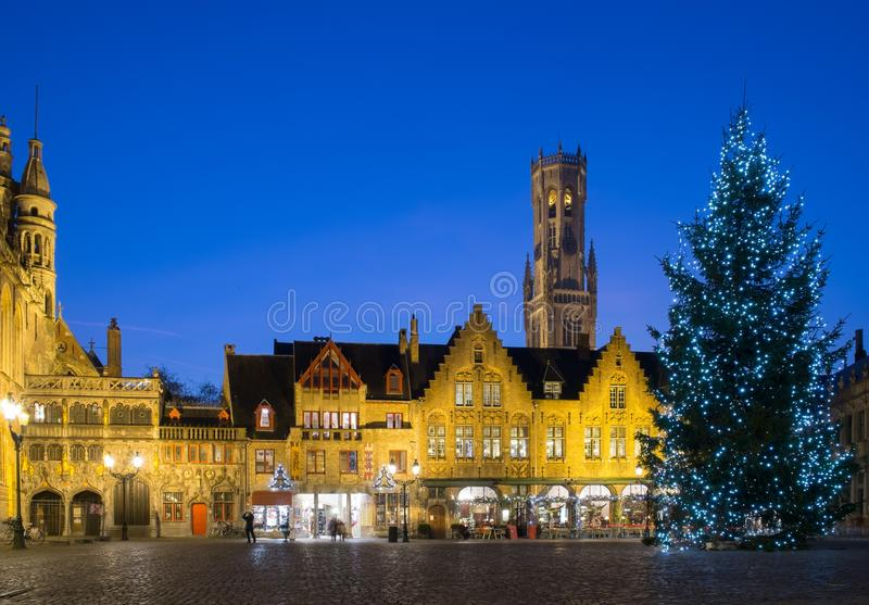 Burg square in Bruges, Belgium. Illuminated Christmas tree on a Burg square in Bruges, Belgium stock images