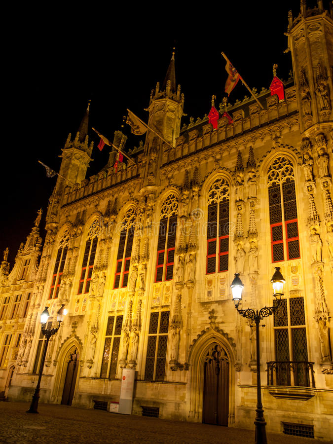 Burg square with the City Hall in Bruges by night. Burg square with the City Hall by night, Bruges, Belgium royalty free stock photography