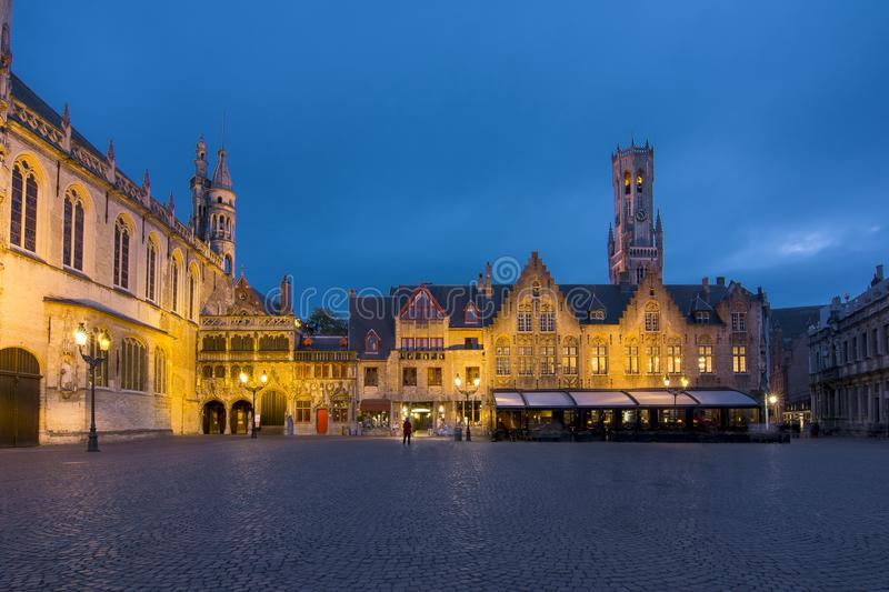 Burg square at night, center of Bruges, Belgium stock photos