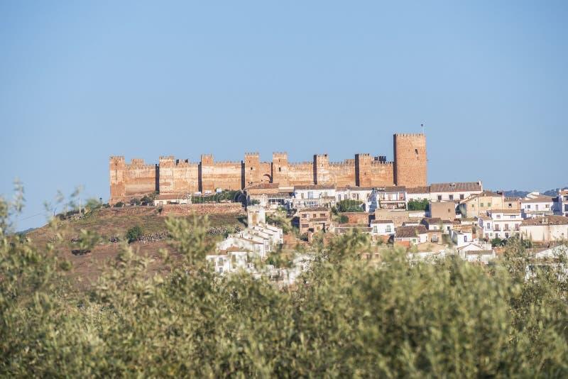 Burgalimar-Schloss, Bedecken-Al-Hamma, Baños De-La Encina-Dorf, J stockbild
