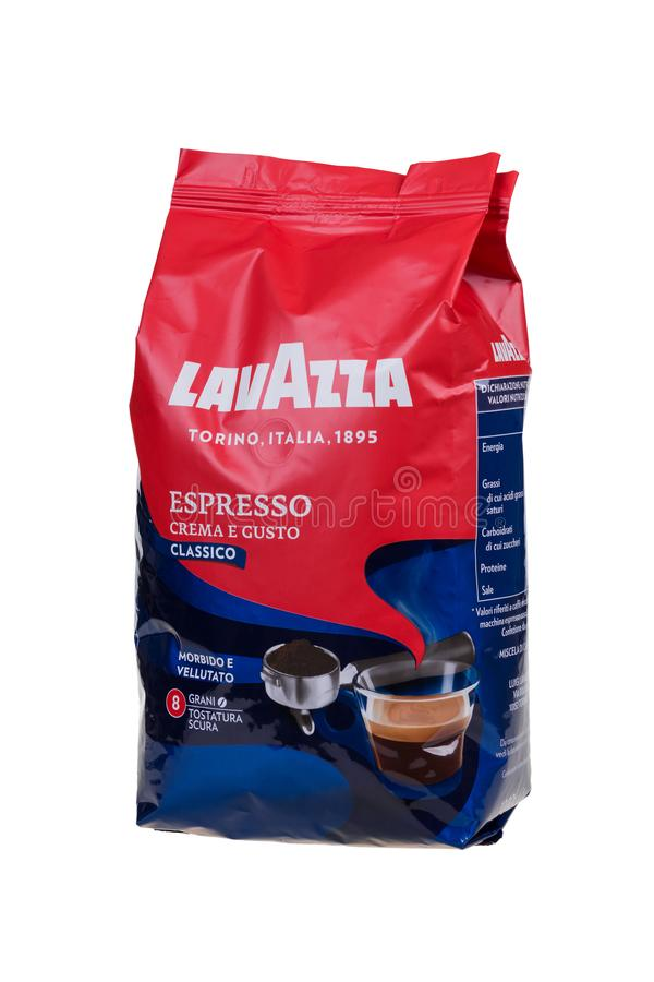 BURGAS, BULGARIA - AUGUST 21, 2018: Lavazza Espresso Crema e Gusto coffee whole beans, 1 kg bag isolated on white background. stock images