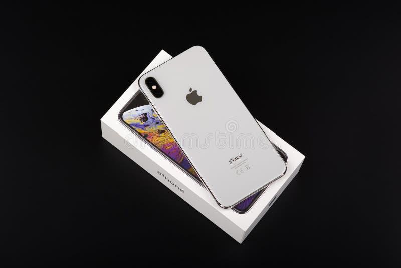 BURGAS, BULGARIA - NOVEMBER 8, 2018: Apple iPhone Xs Max Silver on black background, back view royalty free stock photos
