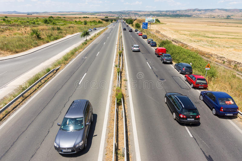 Burgas-Sofia Highway in Bulgaria stock image