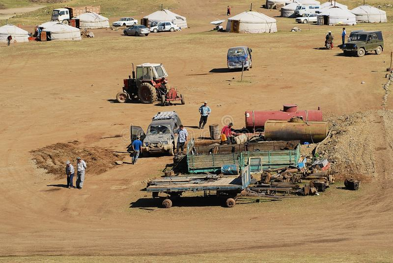 View to the gold mining camp in Burgede, Mongolia. royalty free stock image