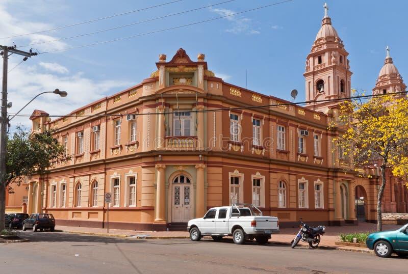Burgemeester House en Kathedraal van Santo Angelo Brazilië royalty-vrije stock fotografie