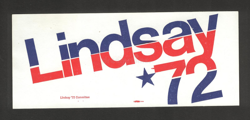 Burgemeester John Lindsay Campaign Sticker royalty-vrije stock fotografie