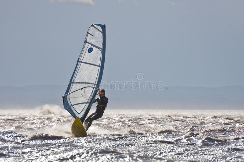 Windsurfing high speed. BURGENLAND, AUSTRIA - OCTOBER 29, 2017: Windsurfer on the Neusiedlersee Lake Neusiedl performing high speed surfing in strong wind, spray royalty free stock images