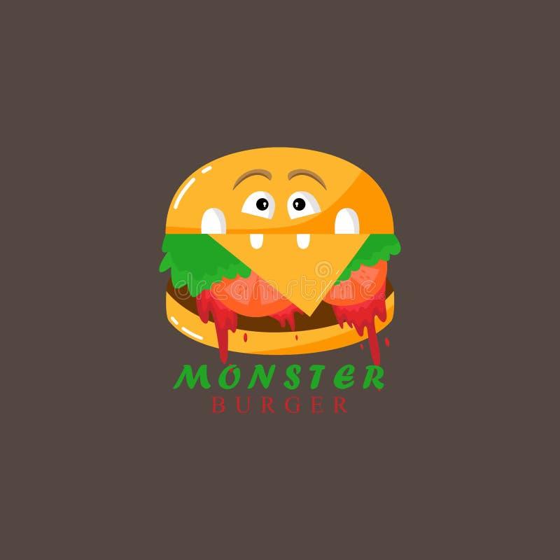 Burger - ένα τέρας Απεικόνιση για την εκτύπωση σε μια μπλούζα διανυσματική απεικόνιση