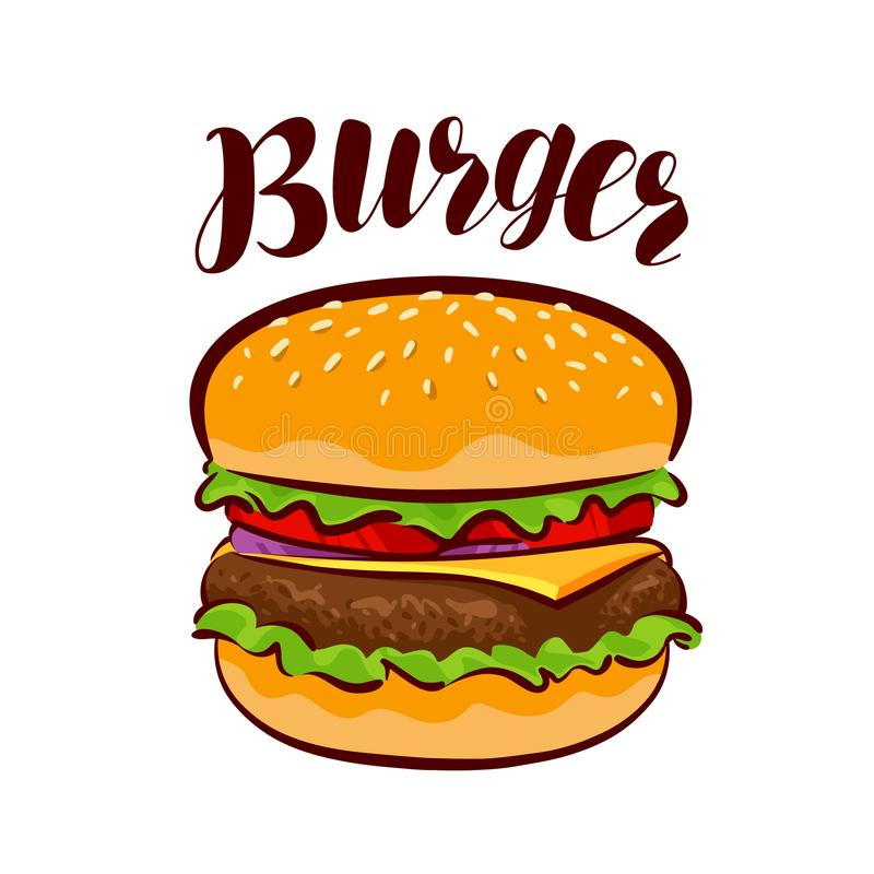 Burger, αμερικανικό γρήγορο φαγητό Στοιχείο για το εστιατόριο ή τον καφέ επιλογών σχεδίου απεικόνιση αποθεμάτων