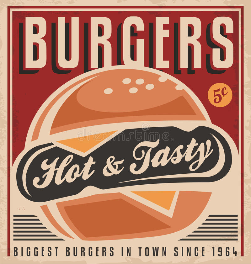 Burger αναδρομικό σχέδιο αφισών απεικόνιση αποθεμάτων