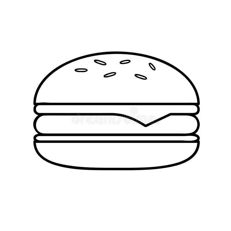 Burger απλή περίληψη εικονογραμμάτων εικονιδίων γρήγορου φαγητού ελεύθερη απεικόνιση δικαιώματος