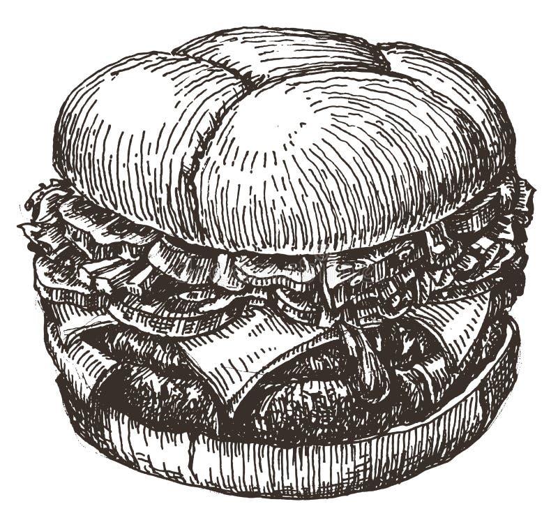 Burger γρήγορο φαγητό σε ένα άσπρο υπόβαθρο σκίτσο διανυσματική απεικόνιση
