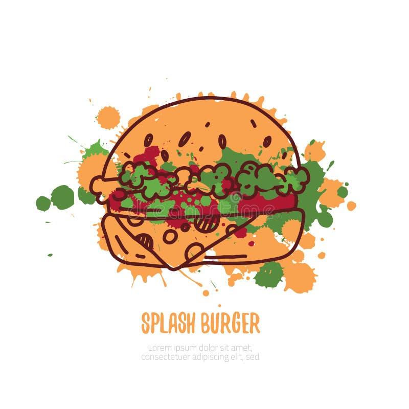 Burger γραπτό χέρι γράφοντας λογότυπο, ετικέτα, διακριτικό Έμβλημα για το εστιατόριο γρήγορου φαγητού, καφές η ανασκόπηση απομόνω ελεύθερη απεικόνιση δικαιώματος