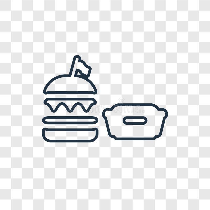 Burger διανυσματικό γραμμικό εικονίδιο έννοιας που απομονώνεται στο διαφανές backgr απεικόνιση αποθεμάτων