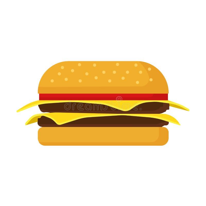 Burger διανυσματικό κρέας κουλουριών ψωμιού τυριών εικονιδίων γρήγορου φαγητού Ψημένο στη σχάρα επιλογές σουσάμι εστιατορίων μαρο ελεύθερη απεικόνιση δικαιώματος