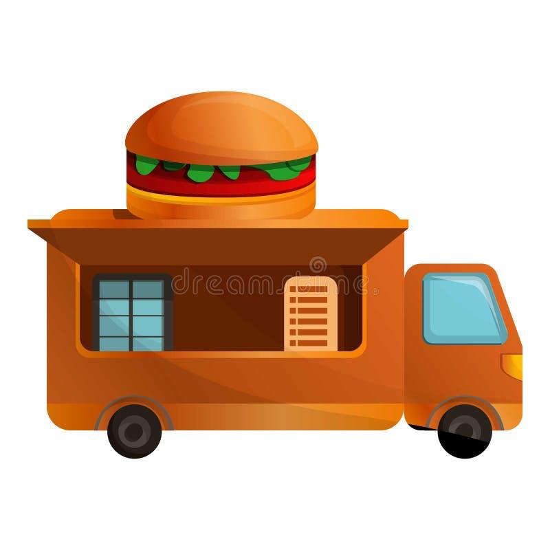 Burger εικονίδιο φορτηγών, ύφος κινούμενων σχεδίων ελεύθερη απεικόνιση δικαιώματος