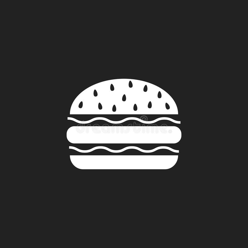 Burger επίπεδο διανυσματικό εικονίδιο γρήγορου φαγητού Λογότυπο συμβόλων χάμπουργκερ illustr διανυσματική απεικόνιση