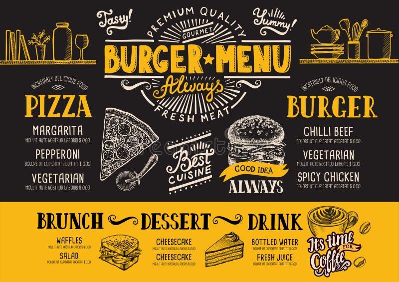 Burger εστιατόριο επιλογών, πρότυπο τροφίμων ελεύθερη απεικόνιση δικαιώματος