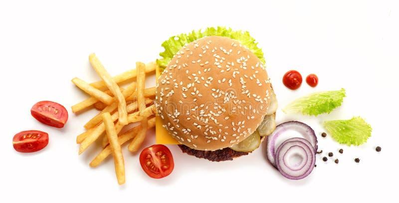 Burger και τηγανισμένες πατάτες στοκ εικόνες με δικαίωμα ελεύθερης χρήσης