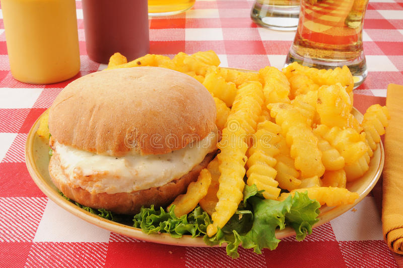 Burger κοτόπουλου με τα τηγανητά και την μπύρα στοκ φωτογραφίες