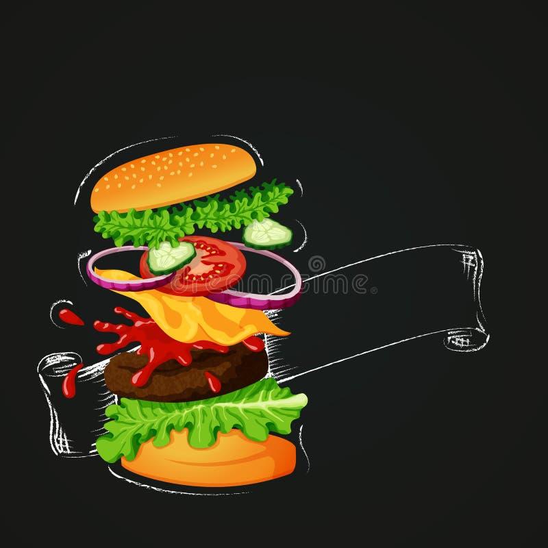 Burger κρέατος εικονίδιο Burger με την περίληψη κιμωλίας και κενή κορδέλλα σε έναν πίνακα ελεύθερη απεικόνιση δικαιώματος