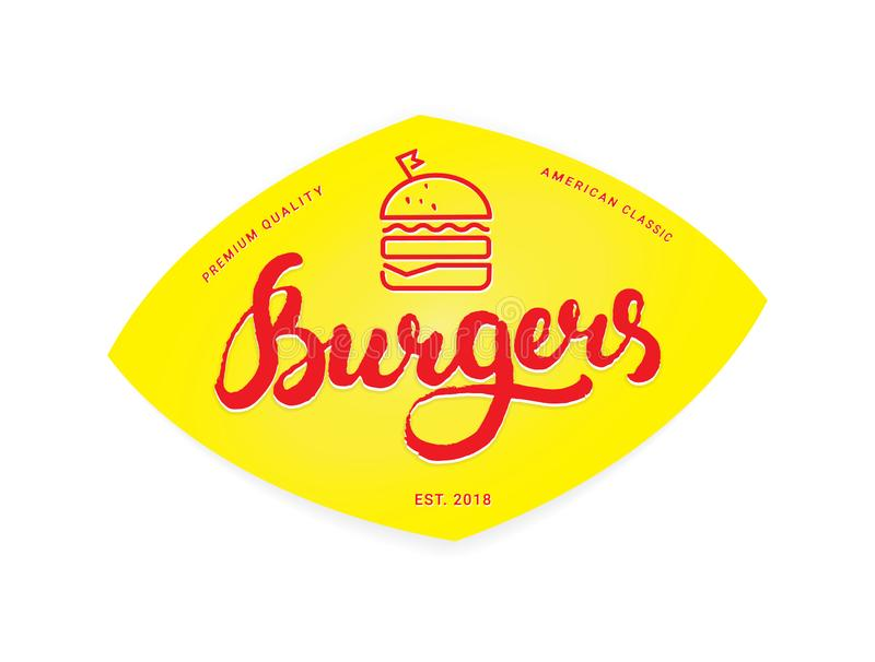 Burger λογότυπο ή εικονίδιο, έμβλημα διανυσματική απεικόνιση