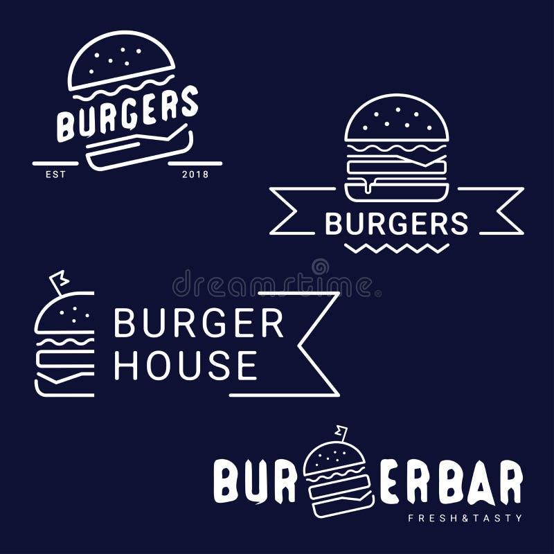 Burger, λογότυπο γρήγορου φαγητού ή εικονίδιο, έμβλημα Σχέδιο περιλήψεων απεικόνιση αποθεμάτων