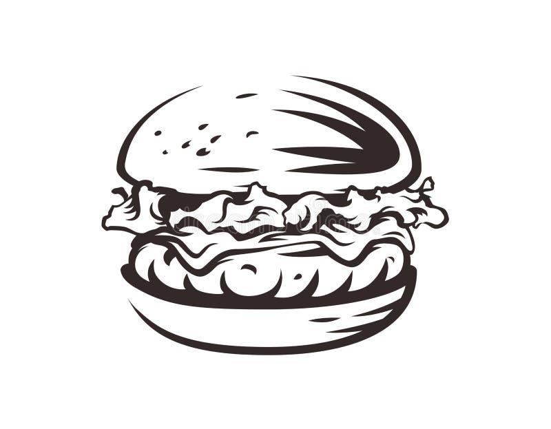 Burger λογότυπο καταστημάτων Σχέδιο γρήγορου φαγητού στοκ φωτογραφία