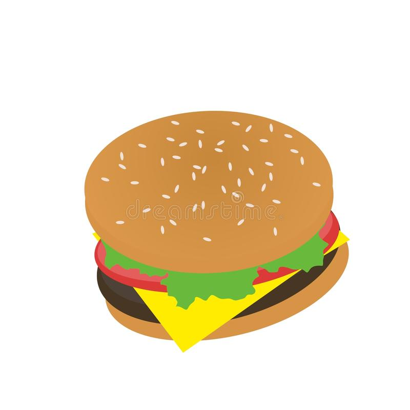 Burger με την ντομάτα, κρέας, τυρί, τέχνη συνδετήρων μαρουλιού στοκ φωτογραφίες με δικαίωμα ελεύθερης χρήσης