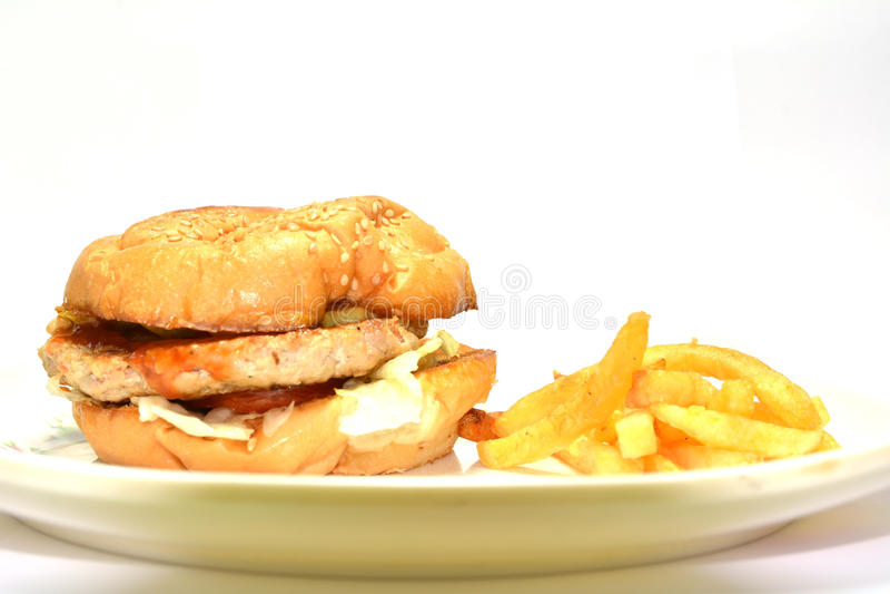 Burger με τις τηγανιτές πατάτες στοκ εικόνες