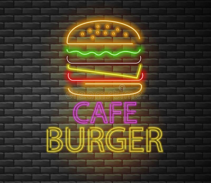 Burger νέο, burger καφέδων, εύγευστο γρήγορο φαγητό ελεύθερη απεικόνιση δικαιώματος