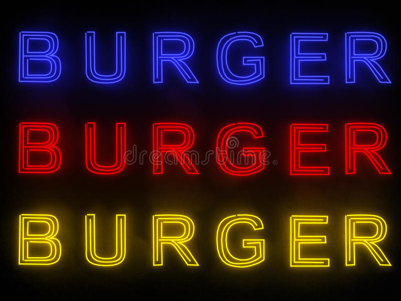Burger σημάδι νέου στοκ εικόνες με δικαίωμα ελεύθερης χρήσης