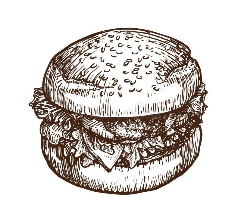 Burger, σκίτσο χάμπουργκερ Έννοια γρήγορου φαγητού hand-drawn διανυσματική απεικόνιση διανυσματική απεικόνιση