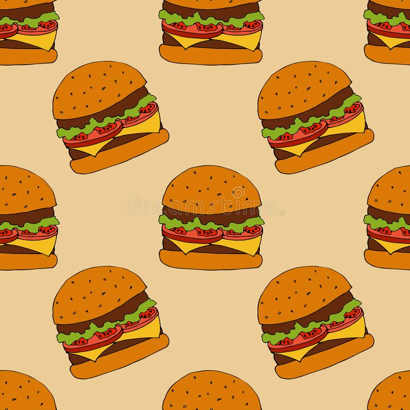 Burger σχέδιο συρμένος εικονογράφος απεικόνισης χεριών ξυλάνθρακα βουρτσών ο σχέδιο όπως το βλέμμα κάνει την κρητιδογραφία σε παρ απεικόνιση αποθεμάτων