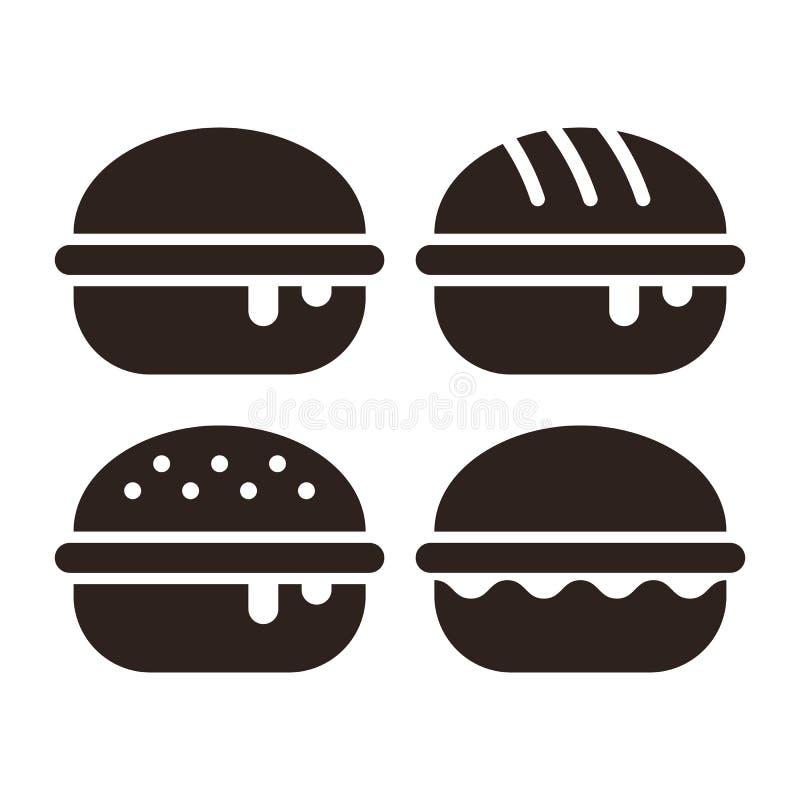 Burger σύνολο εικονιδίων διανυσματική απεικόνιση