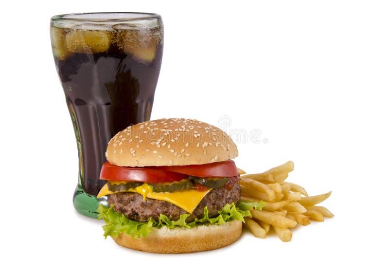 Burger, τηγανιτές πατάτες και κόλα στοκ εικόνες