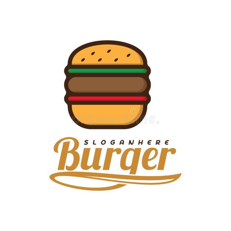 Burger τροφίμων διάνυσμα λογότυπων Burger σχέδιο εμβλημάτων Διανυσματικό πρότυπο λογότυπων τροφίμων απεικόνιση αποθεμάτων