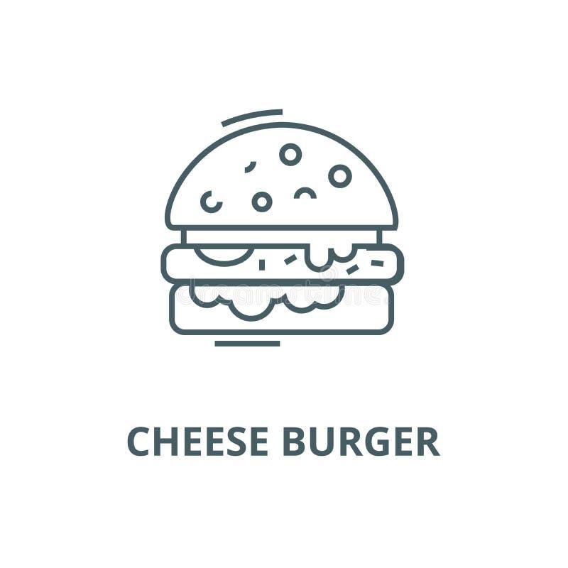Burger τυριών εικονίδιο γραμμών, διάνυσμα Burger τυριών σημάδι περιλήψεων, σ διανυσματική απεικόνιση
