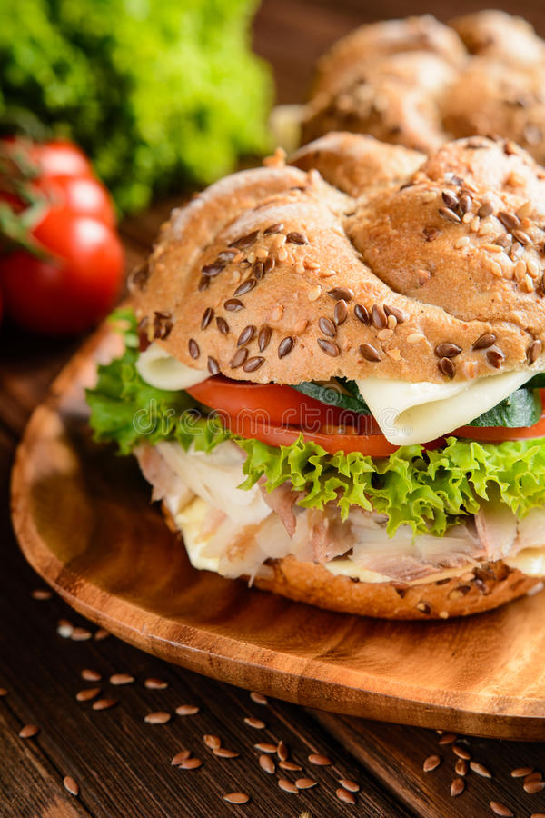 Burger ψαριών με το κρέας σκουμπριών, το τυρί και το φρέσκο λαχανικό στοκ φωτογραφίες με δικαίωμα ελεύθερης χρήσης