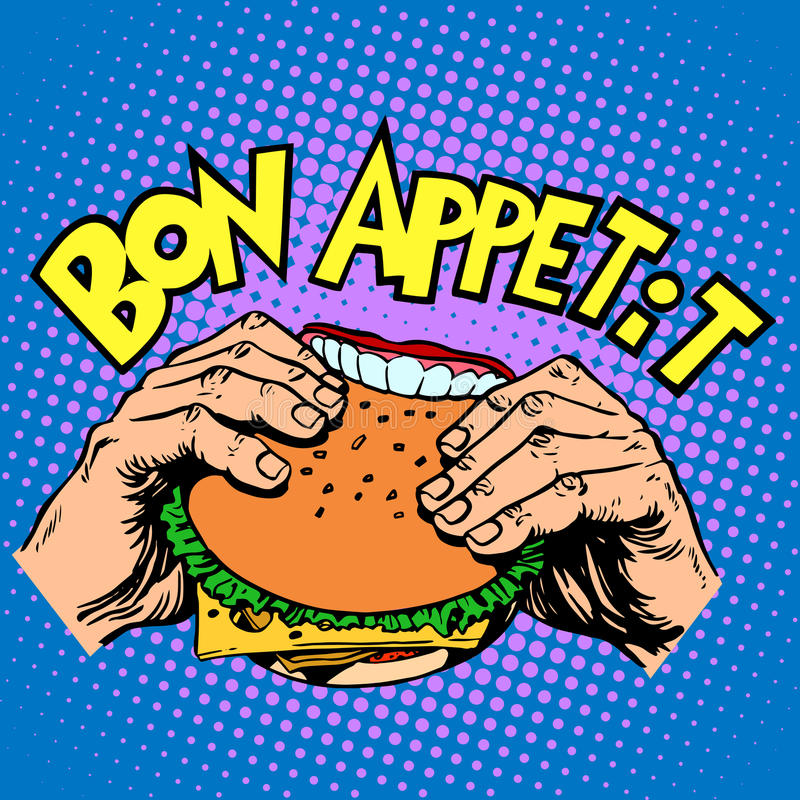 Burger όρεξης Bon το σάντουιτς είναι εύγευστο γρήγορο φαγητό απεικόνιση αποθεμάτων