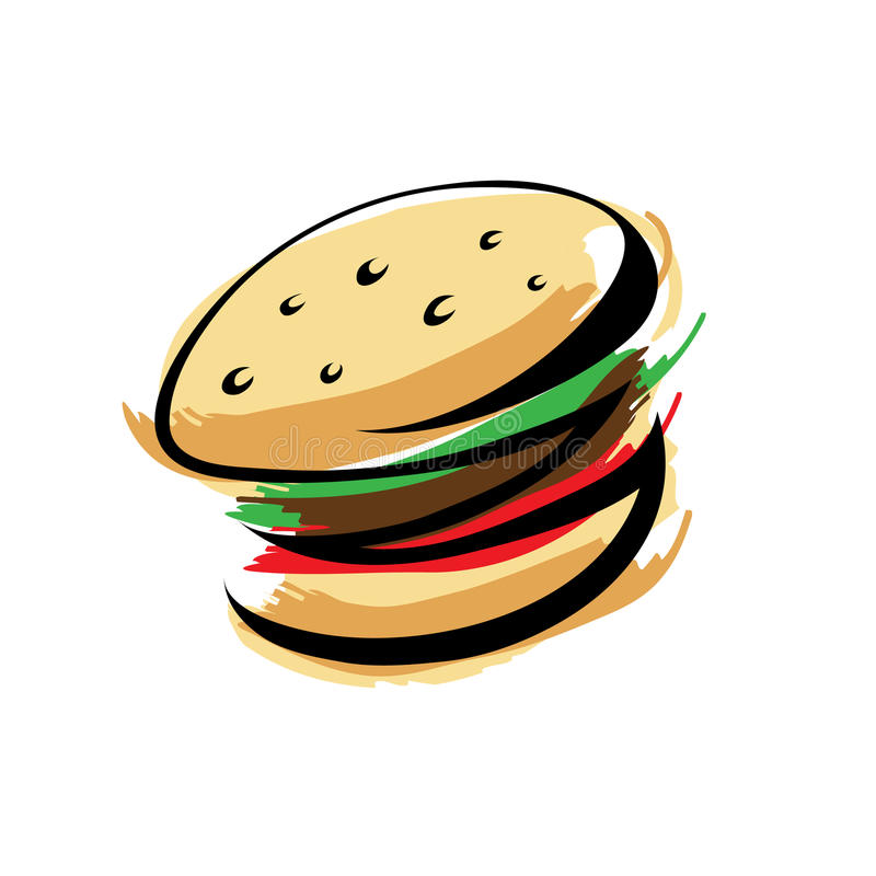 Download Burger stock vector. Image of colorful, icon, brown, dinner - 14977524